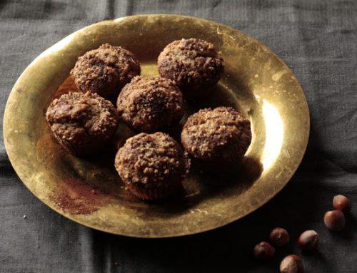 Magdalenas de chocolate y avellana